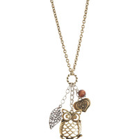Aeropostale Womens Owl Cluster Long-Strand Necklace - Yellow, One