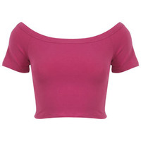 Magenta Bardot Crop Top - Tops  - Apparel