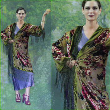 Floral silk fringed kimono / rich mossy green olive old English rose print burnout long duster jacket