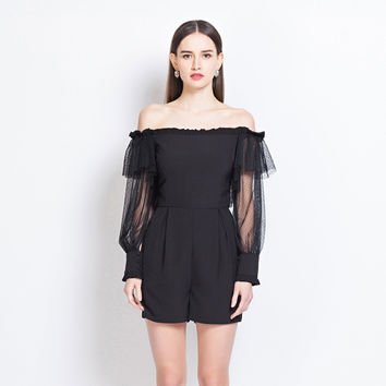 Black Off Shoulder Mesh Flounce Long Sleeve Romper