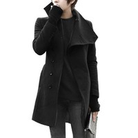Mens Stylish Convertible Collar Long Sleeve Single Breasted Slant Pockets Trench Coat Black M