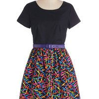 Bea & Dot Mid-length Short Sleeves A-line Drawn to Style Dress
