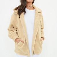 Missguided - Cream Borg Aviator Jacket