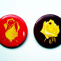 Set of 2 vintage Soviet pins pinback buttons with rose motifs depictions images (1970s)
