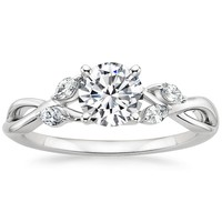 Preset 18K White Gold Willow Diamond Ring with 0.75 Carat Round Diamond