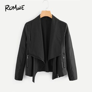 Trendy ROMWE Black PU Zipper Detail Lapel Biker Jacket Women Casual Waterfall 2018 Autumn New Arrival Coat Ladies Rock Plain Outerwear AT_94_13