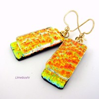 Fire on the Mountain Handmade Dangling Dichroic Glass Earrings