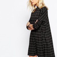 Just Female Nora Longsleeve Dress in Grey Check