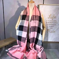 Burberry Autumn And Winter New Fashion Plaid Print Warm Scarf Tassel Women