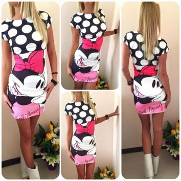 Summer casual women's clothing Stylish and elegant short-sleeved round neck bag hip mini dress Sexy chic 3D Mickey Mouse Dress