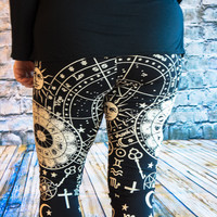 Black and White Astrology Plus Size Leggings