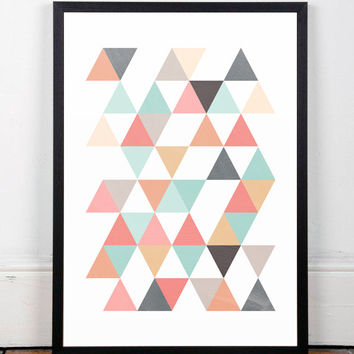 Triangles print, Scandinavian print, Abstract art, Office decor, Mid century modern, Modern art, Minimalist print, Colorful print, Cute art