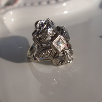 Art Deco Diamond Filigree Ring 14k Edwardian white gold cocktail statement shield  FREE US Shipping until Mother's Day!