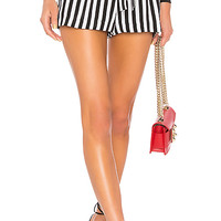 L'AGENCE Alex Paperbag Shorts in Black & White | REVOLVE