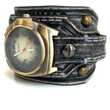 Distressed Men's watch, Leather Wrist Watch, Leather Cuff, Bracelet Watch, Antique looking Wrist Watch, Black