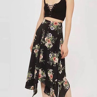 Black High Waist Floral Side Split Asymmetric Midi Skirt