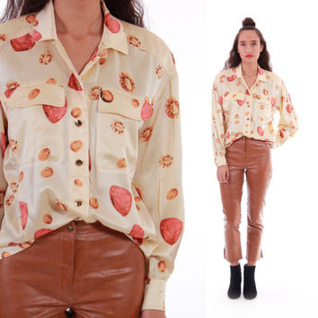 Vtg ESCADA Silk Blouse Cream Colored Large Gem Print 80s 90s Button Down Shirt Chic Vintage Designer Clothing Womens Size Small Medium