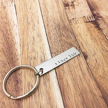 I Love You Keychain, Stamped Bar Keychain, Boyfriend Gift, Stainless steel , Anniversary Gift