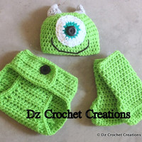 CROCHET PATTERN Monster Photo Prop outfit (Sizes include 0-3 months) INSTANT Download / Crochet Pattern 0-3 Monster Inc Mike photo prop set