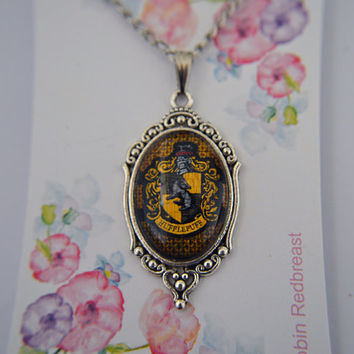 Harry Potter inspired, House Crest, Hufflepuff necklace