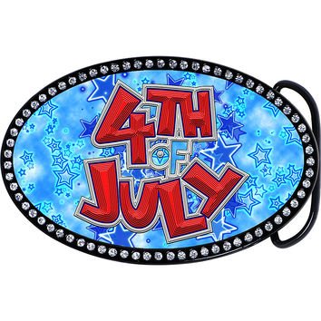Austrian Crystal 4th of July Belt Buckle