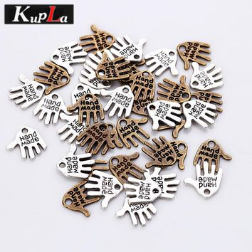 Vintage Metal Cameo Alphabet Letter Hand Made Charms Diy Jewelry Small Letter Pendant Charms for Jewelry  12*12mm 100 Pieces/lot