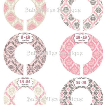 Custom Closet Dividers Newborn to 3T Baby Closet Dividers Baby Shower Gift Closet Organizers Baby Girl Nursery Room Decor Pink Damask 126