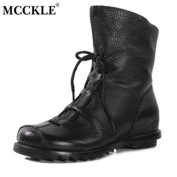 MCCKLE Women Ankle Boots Vintage Genuine Leather Shoes Lace Up 2017 Female Shoe Autumn Low Heels Platform Woman Plus Size Botas