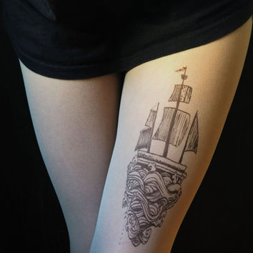 ship, boat, tights, ship tattoo,boat tattoo,hosiery
