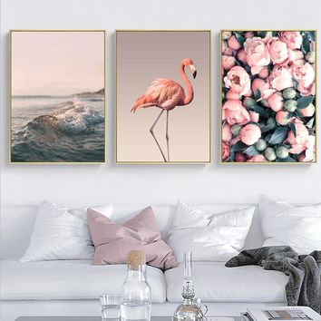 SURE LIFE Modern Landscape Peony Flamingo Nordic Wall Art Pictures Canvas Paintings Posters Prints for Bedroom Home Decorations