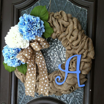 Spring Wreath, Blue Hydrangea Wreath, Burlap Spring Wreath, Personalized Spring Wreath, Blue Spring Wreath, Easter Wreath, Burlap Spring