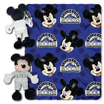 "COLORADO ROCKIES 40""X50"" DISNEY MICKEY MOUSE HUGGER PILLOW & THROW BLANKET SET"