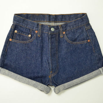 "Vintage 90s LEVIS 501 High Waisted Shorts Dark Wash Denim Boyfriend Jeans Cuffed Rolled Cutoff Hem Festival Concert Wear Size 27"" Waist"
