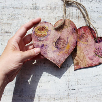 Set of 2 heart ornaments rustic cottage chic shabby chic kitchen decor tea time 5 o'clock pink mauve pastel yellow off white