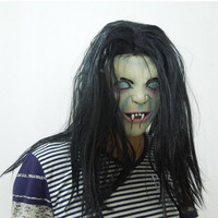 Halloween Costume Vampire For Woman Scary Long Hair Bloody Tooth Gohst Halloween Decoration Props Decora O Latex Party Mask