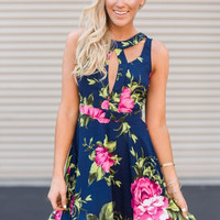 Ready to Play Floral Flair Dress in Navy