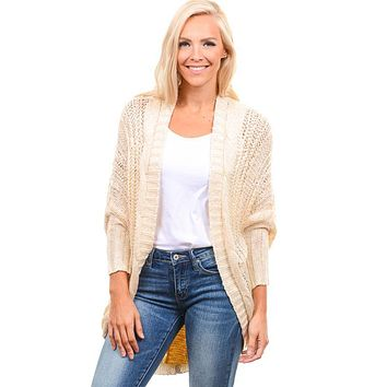 Cream Cable Knit Cardy Sweater