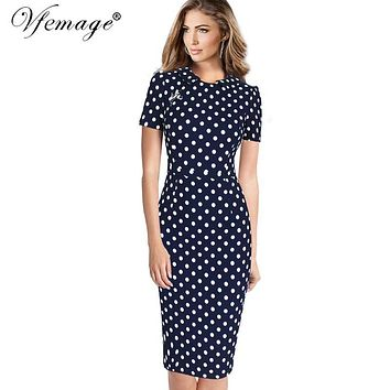 Vfemage Womens Elegant Vintage 2017 Spring Summer Polka Dot Casual Work Business Office Bodycon Pencil Sheath Dress 6188