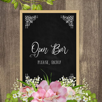 Wedding open bar sign, Country wedding decor, Rustic wedding decorations, Large chalkboard sign, Wedding signs chalkboard, DIY chalkboard