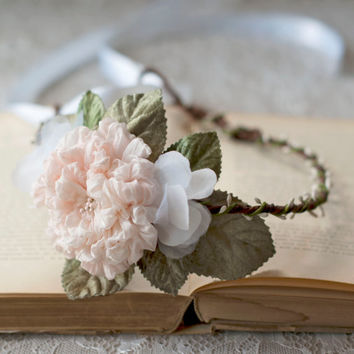 Silk Bridal Flower Crown Blush Peach Rose Hair Circlet Romantic Woodland Boho Wedding Head Wreath Floral White Halo Hair Accessories