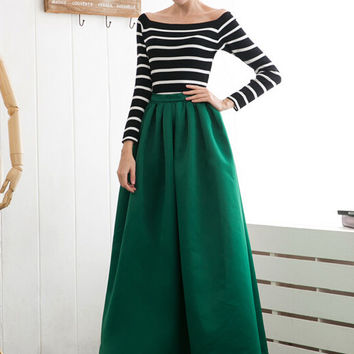 Green High Waist Maxi Skirt from Craven | A Must Have