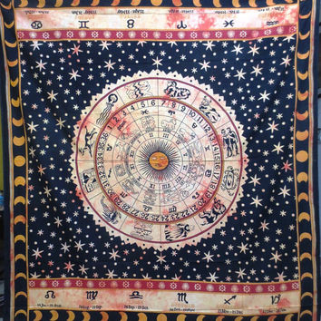 Zodiac, Horoscope, Star Sign, Astrology Tapestry throw, Wall Hanging, Tapestry MANDALA  87x82""