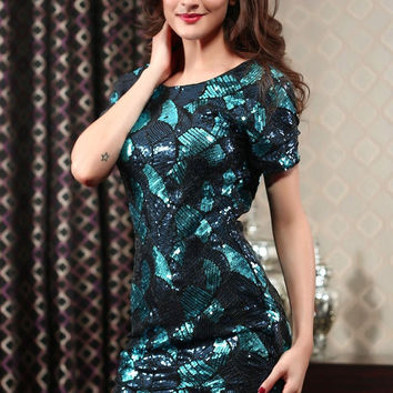 Blue Dazzle Sequined Short Sleeve Mini Dress