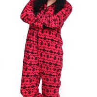 Totally Pink Women's Warm and Cozy Plush Onesuit Pajama