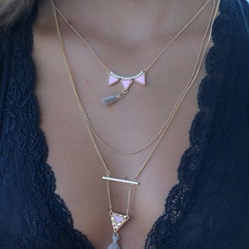 Elsie Gold & Pink Layered Chain Necklace