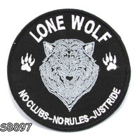 LONE WOLF IN ROUND SHAPE Iron on Small Badge Patch for Biker Vest SB897