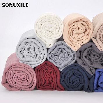 Scarf For Women Simple Solid Cotton Blends Rayon Scarves Spanish Stole Soft Gray Shawls Spring Photo Accessories 16 Color