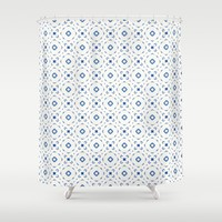 Acrylic Blue Square Dots Shower Curtain by Doucette Designs