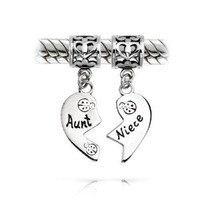 Valentines Day Gifts Bling Jewelry Aunt and Niece 925 Silver Heart Dangle Charm Pandora Compatible: Jewelry: Amazon.com