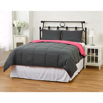 Twin/Twin XL Size 2 Piece Grey Pink Microfiber Comforter Set With 1 Sham